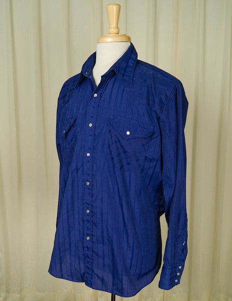 80s does 50s Blue Western Shirt by Vintage Collection by Cats Like Us - Cats Like Us