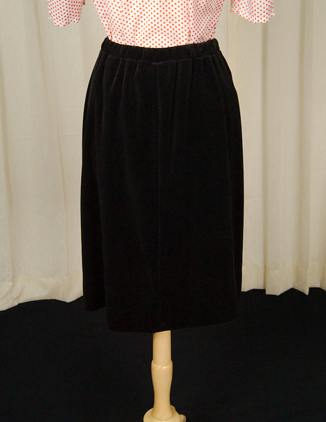80s does 60s Black Velvet Skirt