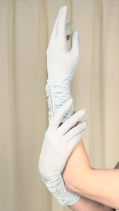 Baby Blue Pearl & Lace Gloves - Cats Like Us