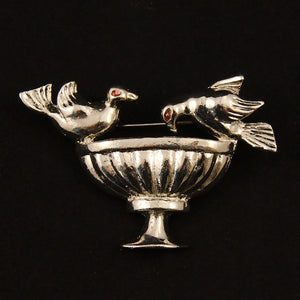 Bird Bath Brooch by Vintage Collection by Cats Like Us - Cats Like Us