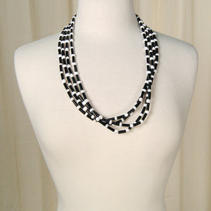 Black & White Bead Necklace by Cats Like Us - Cats Like Us