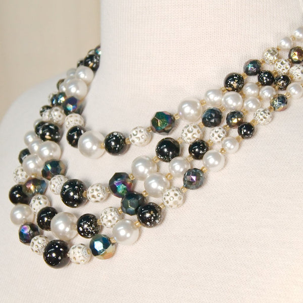 Black & White Strands Necklace