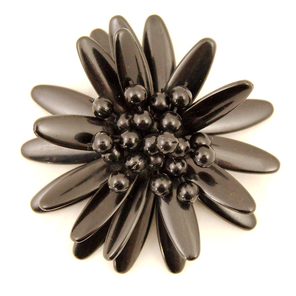 Black Bauble Flower Brooch by Vintage Collection by Cats Like Us - Cats Like Us