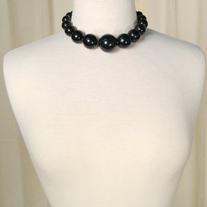 Black Bead Graduated Necklace by Cats Like Us - Cats Like Us