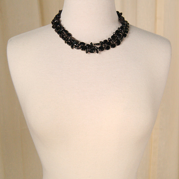 Black Bead Triple Necklace by Vintage Collection by Cats Like Us : Cats Like Us