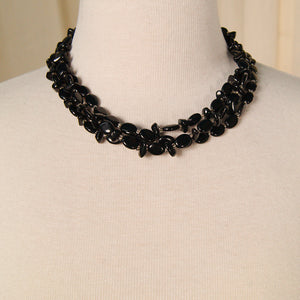 Black Bead Triple Necklace by Vintage Collection by Cats Like Us - Cats Like Us