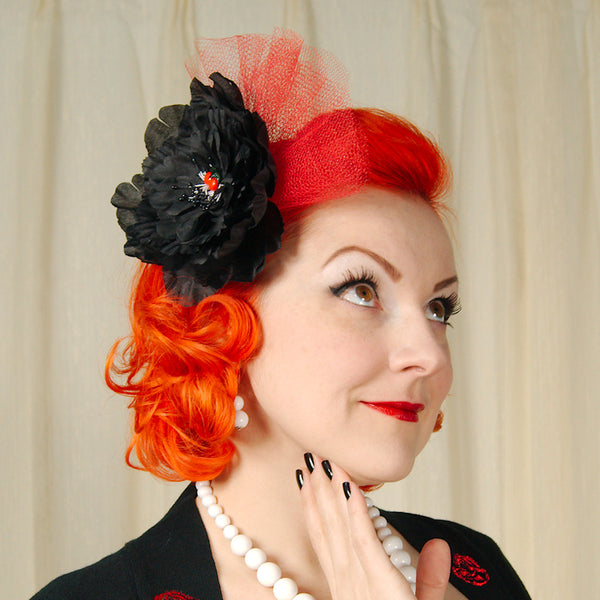 Black Cherry Floral Fascinator - Cats Like Us