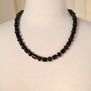Black Cylinder Bead Necklace by Vintage Collection by Cats Like Us - Cats Like Us