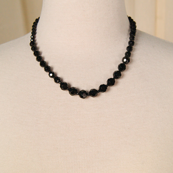 Black Faceted Bead Necklace by Vintage Collection by Cats Like Us : Cats Like Us
