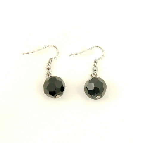 Cats Like Us Black Faceted Dangle Earrings for sale at Cats Like Us