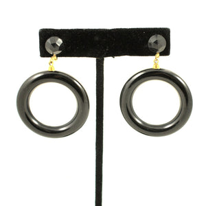 Black Ring Hoop Earrings