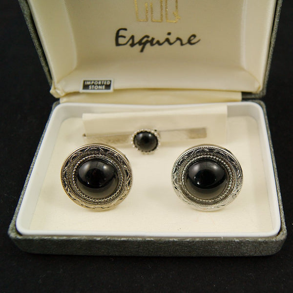 Black Stone Cufflinks & Tie Bar