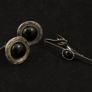 Black Stone Cufflinks & Tie Bar - Cats Like Us