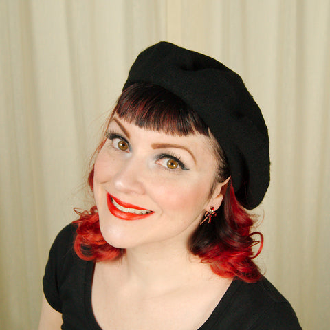 Black Wool Beret Hat - Cats Like Us