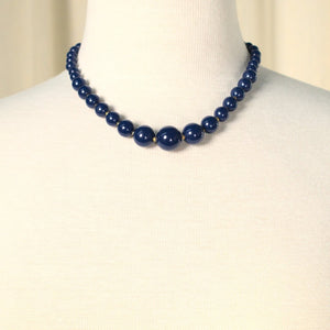Blue & Gold Bead Necklace