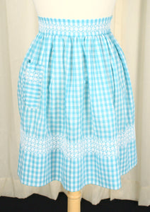 Blue Gingham Embroidered Vintage Apron