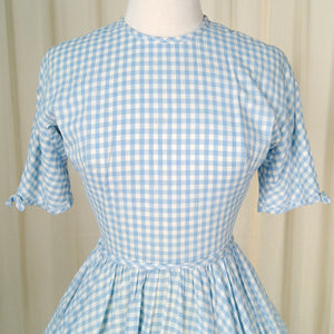 1950s Blue Gingham Swing Dress by Cats Like Us - Cats Like Us