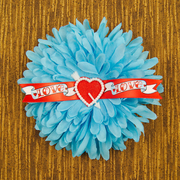 Blue Love Banner Hair Flower