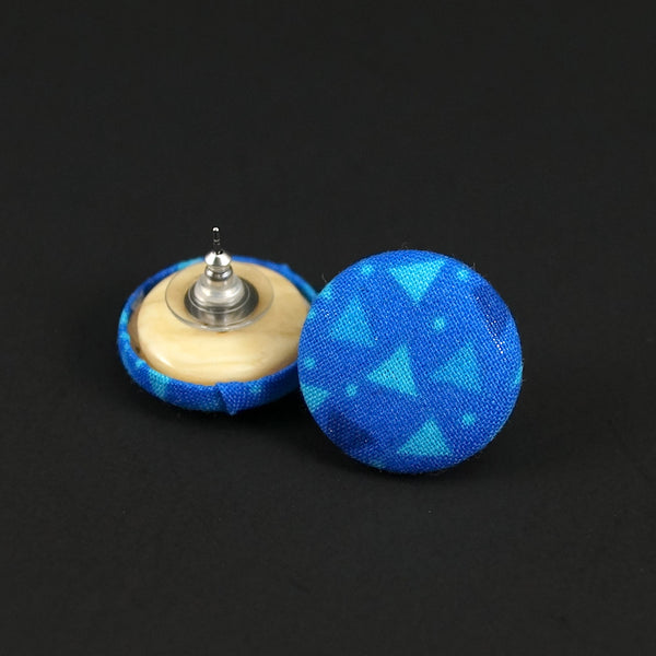 Blue Ocean Button Earrings - Cats Like Us