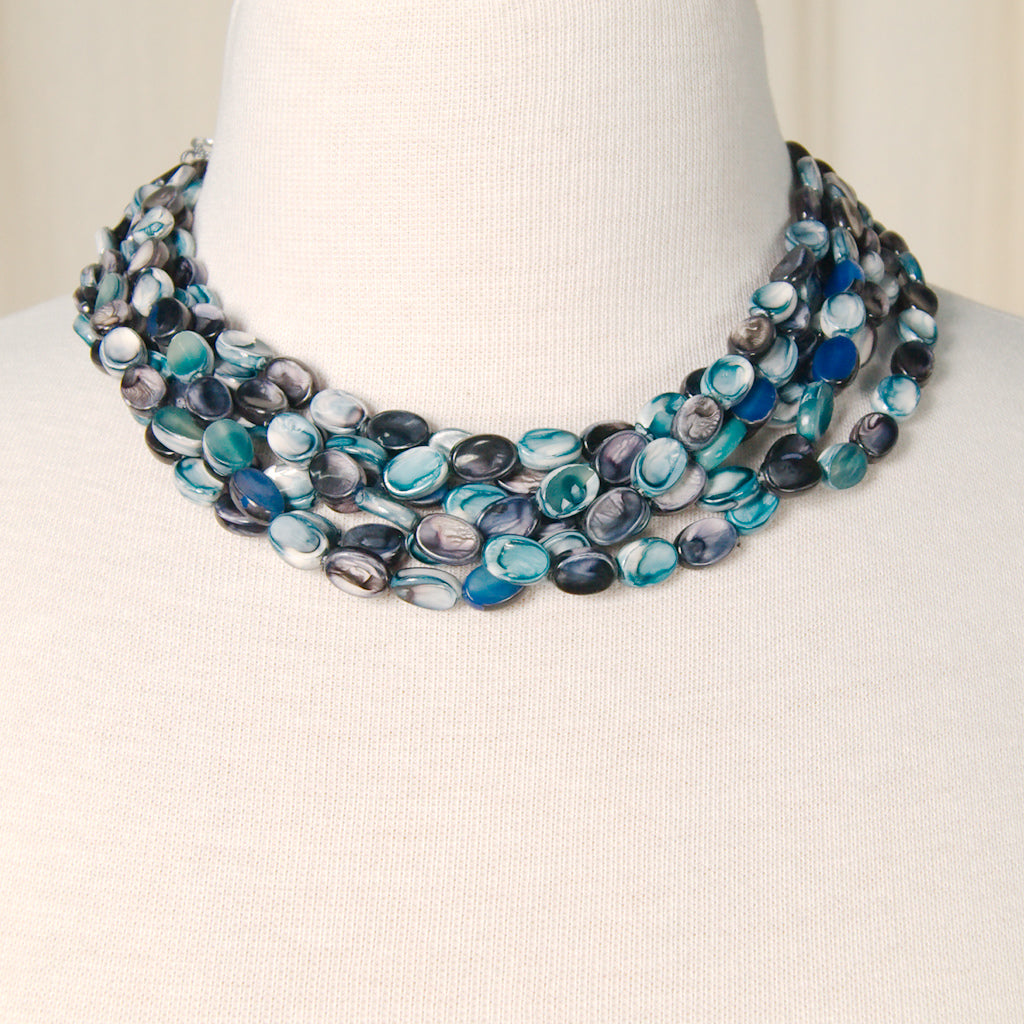 Blue Oval Six Strand Necklace