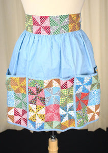 Blue Patchwork Apron - Cats Like Us