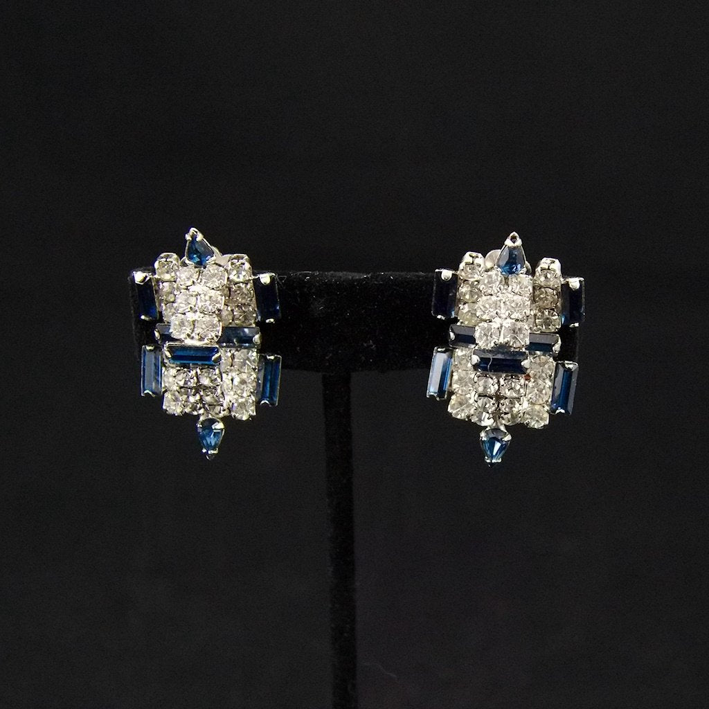 Vintage Blue Rhinestone 3D Earrings