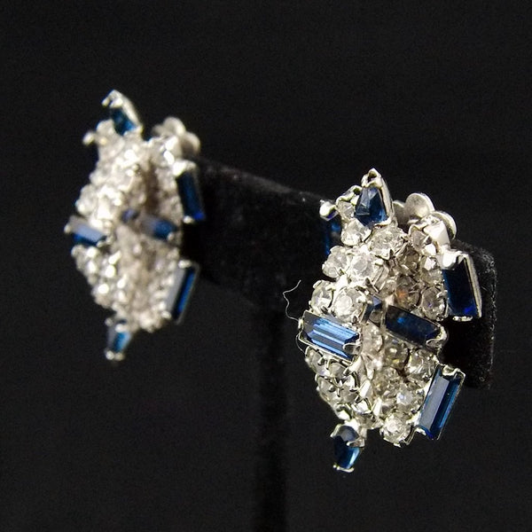 Vintage Blue Rhinestone 3D Earrings - Cats Like Us