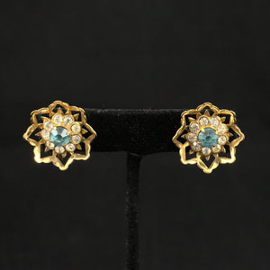 Blue Rhinestone Vintage Earrings & Pin