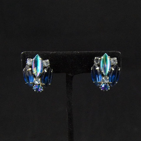 Vintage Blue Rhinestone Earrings - Cats Like Us