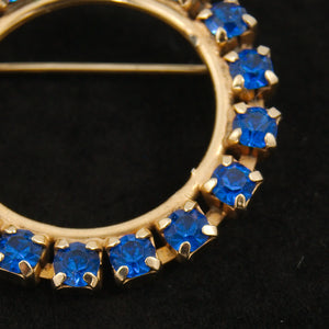 Blue Rhinestone Wreath Brooch