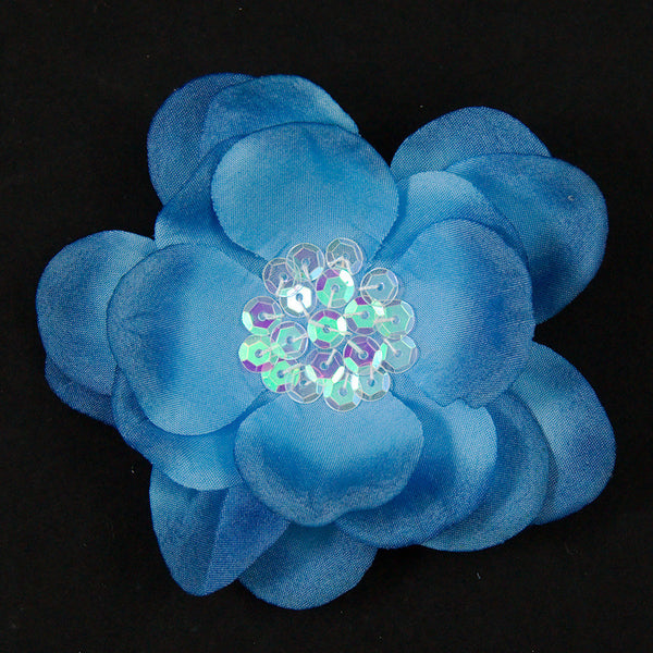 Blue Sequin Hair Flower