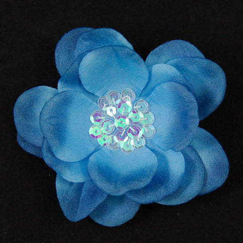 Blue Sequin Hair Flower - Cats Like Us