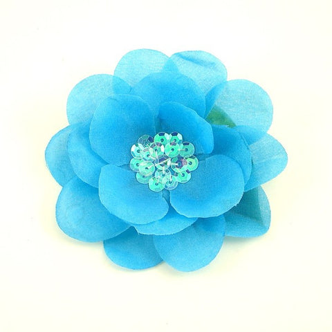 Bright Blue Sequin Hair Flower - Cats Like Us