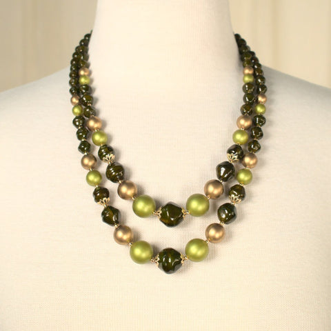 Brown & Lime Pearl Necklace - Cats Like Us