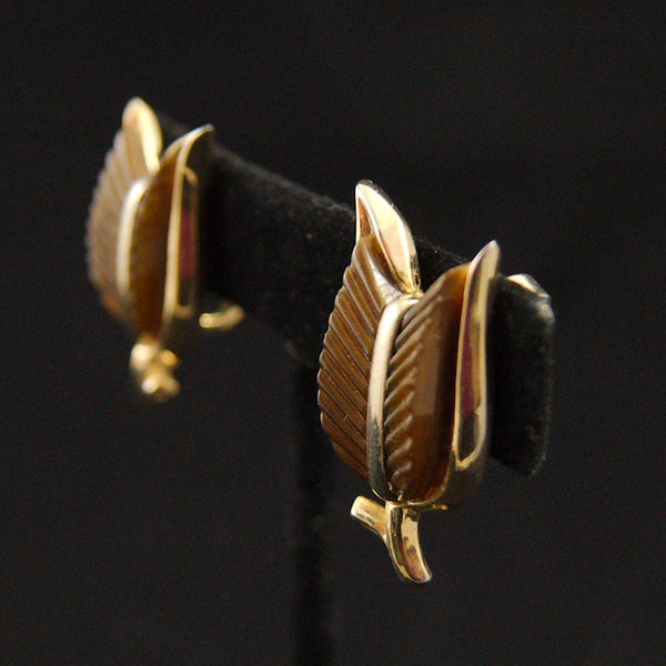 Brown Leaf Earrings - Cats Like Us