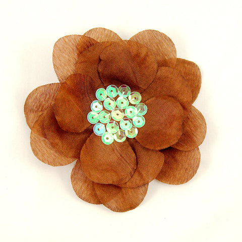 Brown Sequin Hair Flower - Cats Like Us