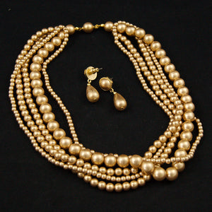 Caramel Pearl Necklace Set