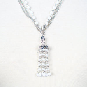 Chandelier White Bead Necklace