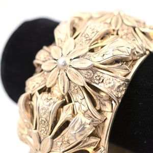 Chunky Gold Floral Hinge Bangle