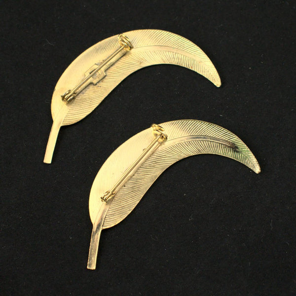 Curved Leaf Brooch Set