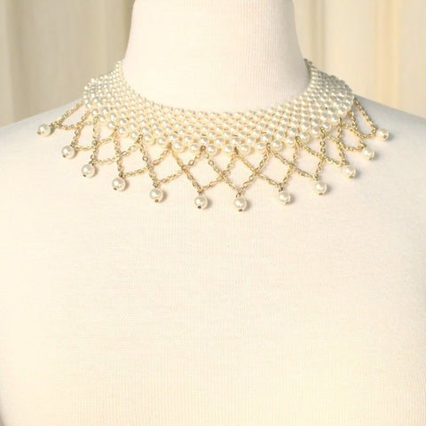 Dangling Pearl Collar Necklace