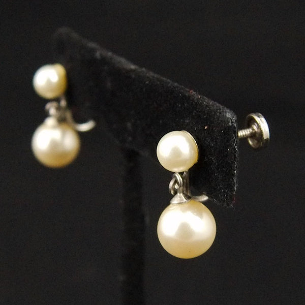 Vintage Dangling Pearl Earrings - Cats Like Us