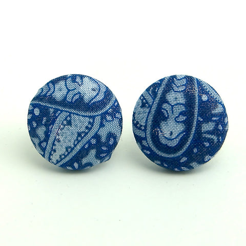 Denim Paisley Button Earrings by Cats Like Us : Cats Like Us