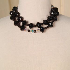 Double Black & Crystal Necklace by Cats Like Us : Cats Like Us