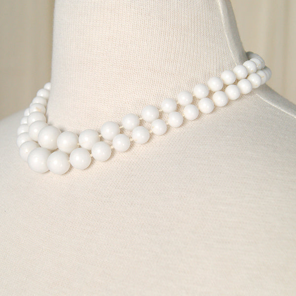 Double Strand White Necklace