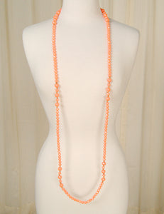 Extra Long Coral Bead necklace