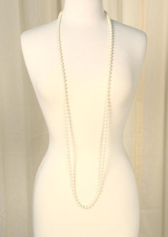 Extra Long Faux Pearl Necklace - Cats Like Us