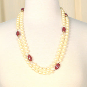 Extra Long Vintage Pearl Bead Necklace