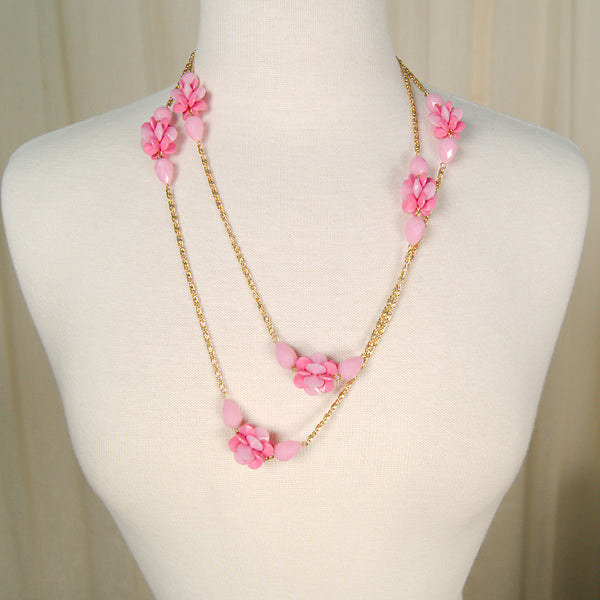 Extra Long Pink & Gold Necklace