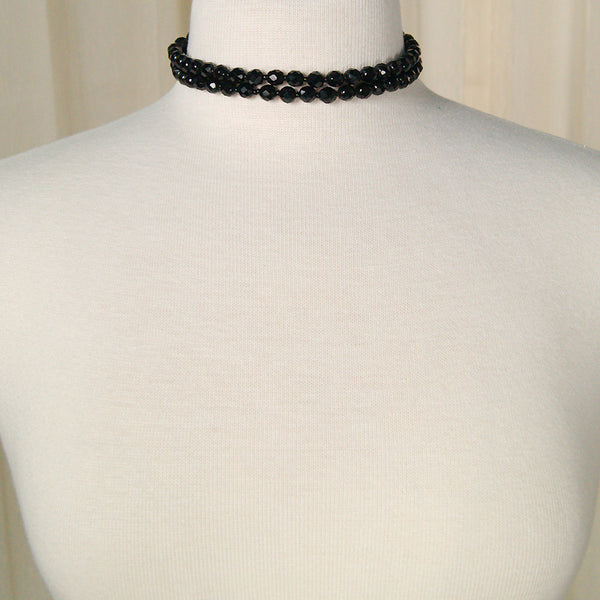 Faceted Black Bead Necklace